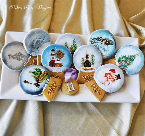 hand painted christmas snowglobe cookies cookie connection