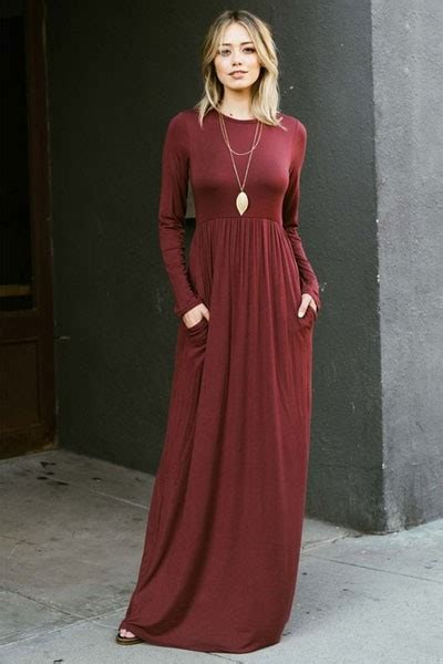 solid jersey sleeve maxi dress with pockets burgundy