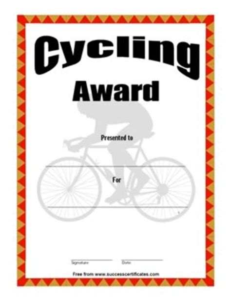 certificate for cycling cycling award success certificates