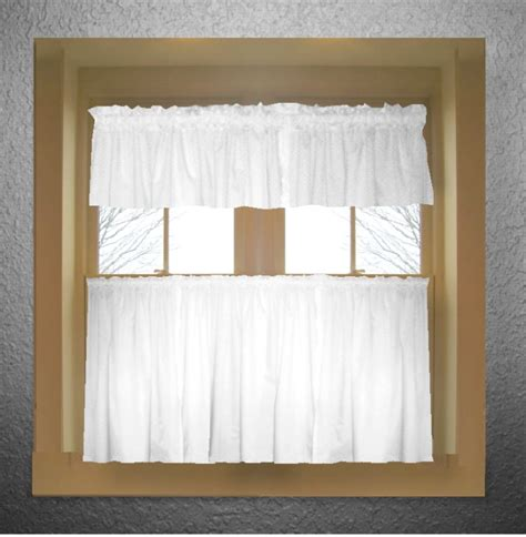 White Valance Curtains Bright White Color Tier Kitchen Curtain Two Panel Set