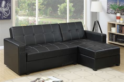 black faux leather storage sectional sofa