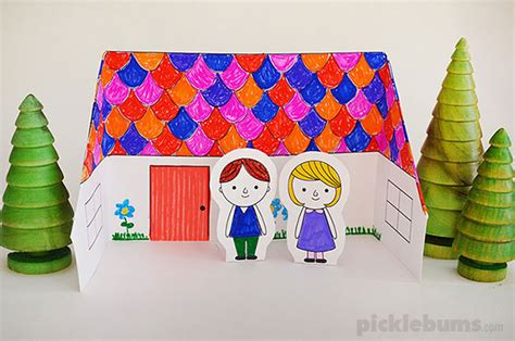 kids crafts doll house make a paper doll s house free printable picklebums