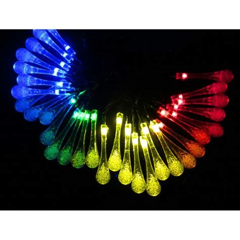 solar powered 20 led string light water drop christmas