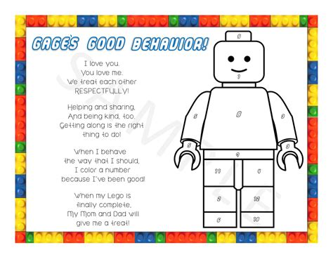 personalized lego color the number behavior chart by
