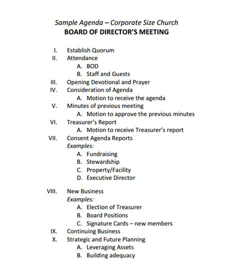 sle board meeting agenda template 11 free documents