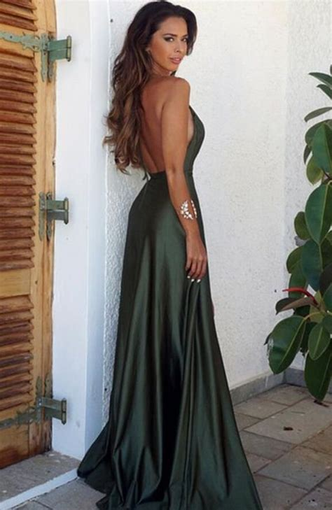 elegant simple prom dresssexy backless split prom dress