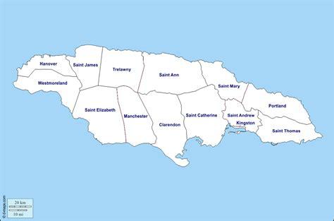 printable map of jamaica with parishes jamaica free map free blank map free outline map free
