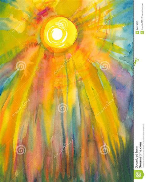 free of painting sun watercolor painting stock illustration illustration