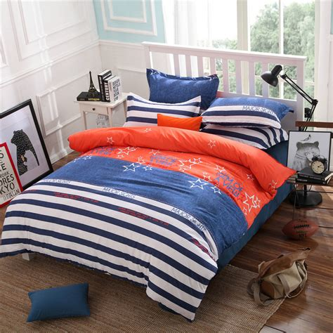 Orange Bedding Sets 100 Cotton Bedding Set Blue Orange Style Duvet Cover Set King Size With Bed