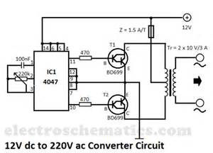 12v to 220v converter circuit circuit schematic diagram