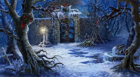 wallpaper hutan seni fantasi gelap musim dingin