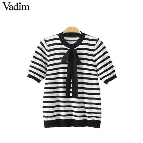 Sweet Bow Blouse Black White Size L 19052 vadim sweet bow tie knitted stripped shirts elastic sleeve blouse black white o neck