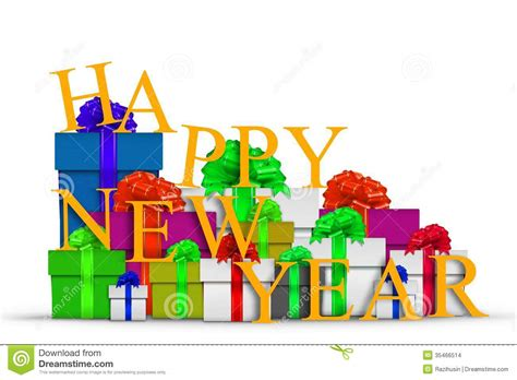 new years presents happy new year with gift boxes stock illustration image