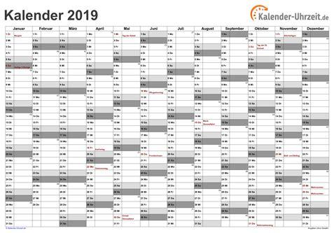 Calendar 2019 Pdf Kalender 2019 Zum Ausdrucken Kostenlos