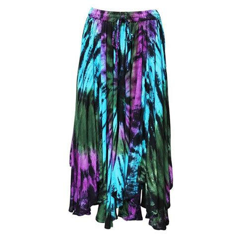 midi embroidered tie dye skirt the hippy clothing co