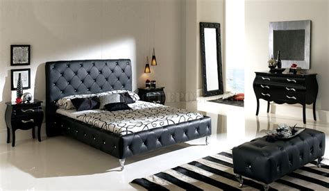 nelly bedroom  esf  black tufted leather headboard