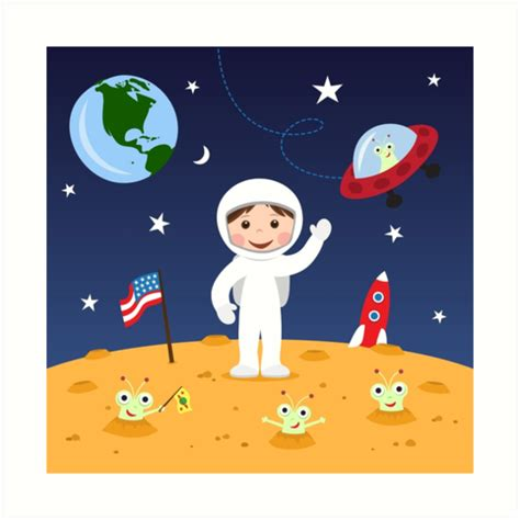Boys Wall Art Stickers quot friends in space cute cartoon wall art with boy astronaut