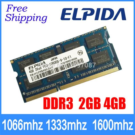 Memory 4gb Ddr3 Sodimm Pc 8500 ddr3 elpida 2gb 4gb 1066mhz 1333mhz 1600mhz pc3 10600s 8500 12800 laptop memory notebook ram