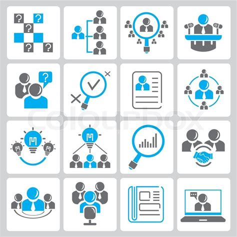 icon design model business and organization management icons set in black