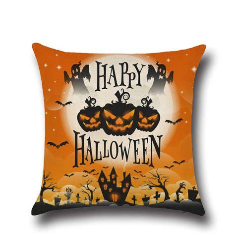 halloween couch cover halloween pumpkin bat owl pattern pillowcase cotton linen