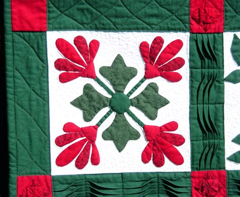 Quilt Sashing With Cornerstones by Green Applique Wall Quilt