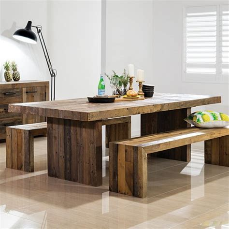 large kitchen tables with benches buy rustic chunky plank recycled wood dining set