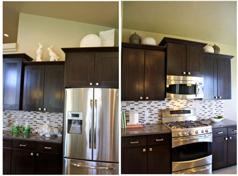 Cabinet Top Decor by How To Decorate Above Kitchen Cabinets Shaweetnails