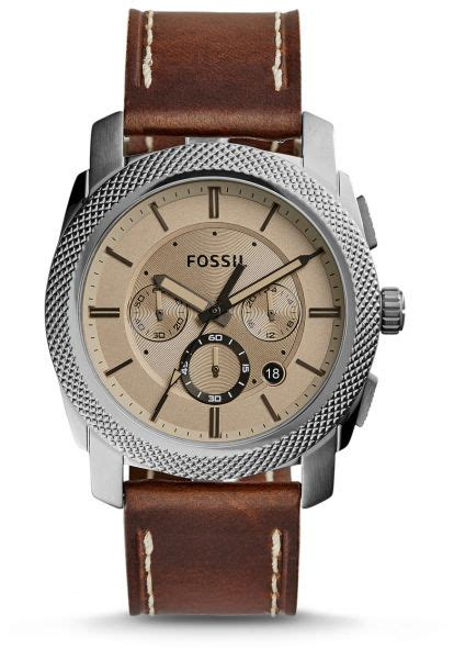 Fossil Woody Brown fossil machine s brown leather band chronograph
