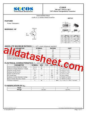 transistor c1815y datasheet transistor c1815y datasheet 28 images c1815 hi sincerity npn epitaxial planar transistor