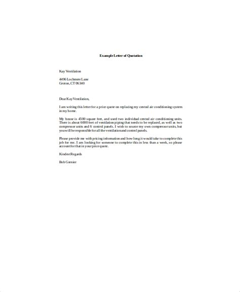 Business Letter Sle Quotation Quotation Letter Sle In Doc Request For Quotation Letter 5 Sle Quotation Letter Free