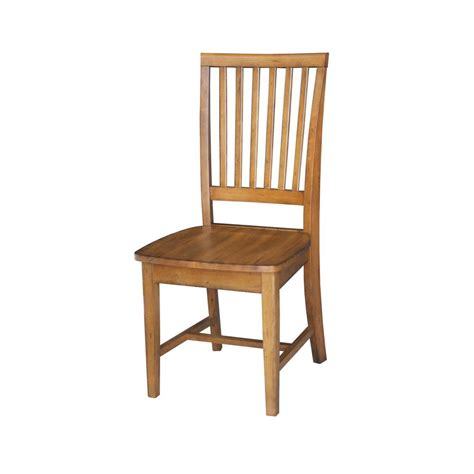 Distressed Wood Dining Chairs Distressed Pecan Wood Mission Dining Chair Set Of 2 C59 265p The Home Depot