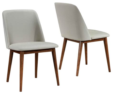 Upholstered Modern Dining Chairs Set Of 2 Mid Century Modern Upholstered Dining Chairs Walnut Wood Legs Midcentury