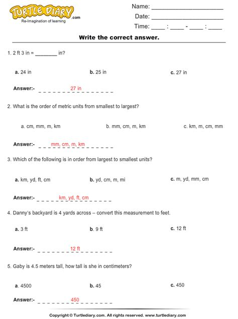 Units Of Length Worksheet Answers by Metric Units Choose The Right Option Worksheet Turtle