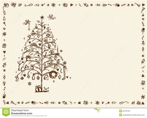 Christmas Card Sketch Drawing For Your Design Stock Printable Funny Christmas Greeting Cards L