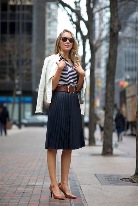 Addressing Skirts At Work - a zara coated pleated navy midi skirt j crew ivory