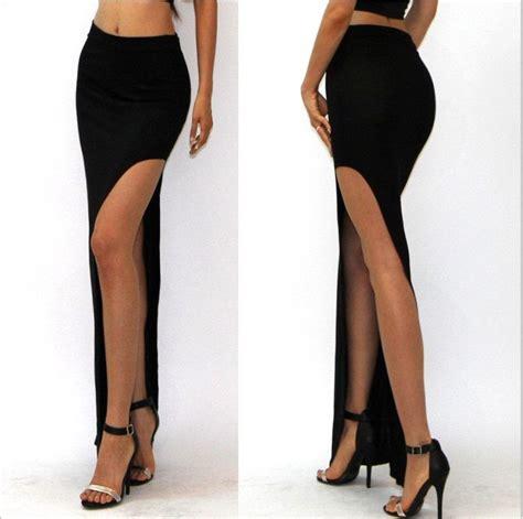 Darkblue Side Cut Sml Skirt 30043 aliexpress buy 2015 summer skirt midi maxi high waist skirt side cut