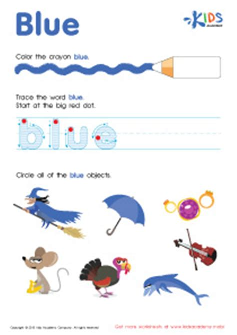 find related colors tracing words blue printable worksheet kids academy