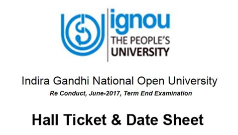 Ignou Mba Date 2017 by Ignou Re Conduct June 2017 Ticket Date Sheet