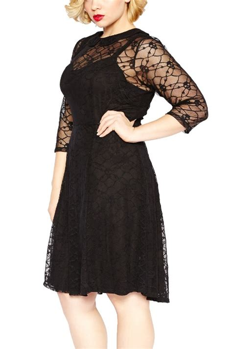 pattern dress lace overlay tripp plus size gothic black skull lace overlay dress