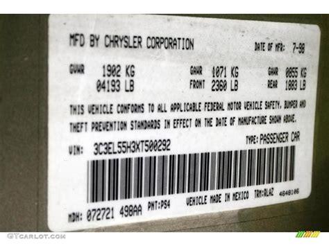 1999 chrysler sebring jxi convertible color code photos gtcarlot