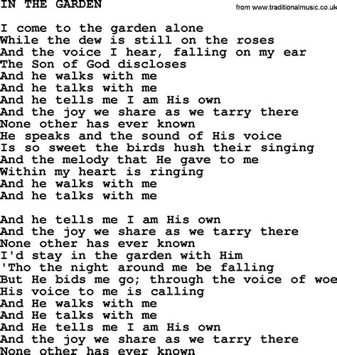Song In The Garden by Johnny Song In The Garden Lyrics