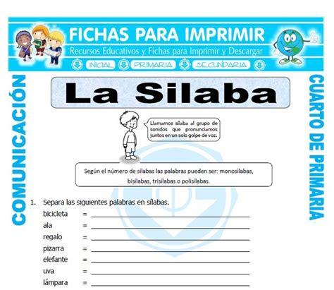 cuarto silabas clasificacion de las silabas para cuarto de primaria