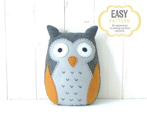 sewing pattern owl owl sewing pattern felt stuffed owl plushie hand sewing