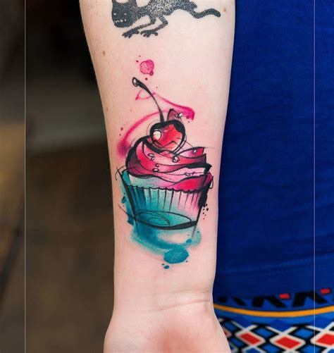 cupcake with cherry on top best tattoo design ideas