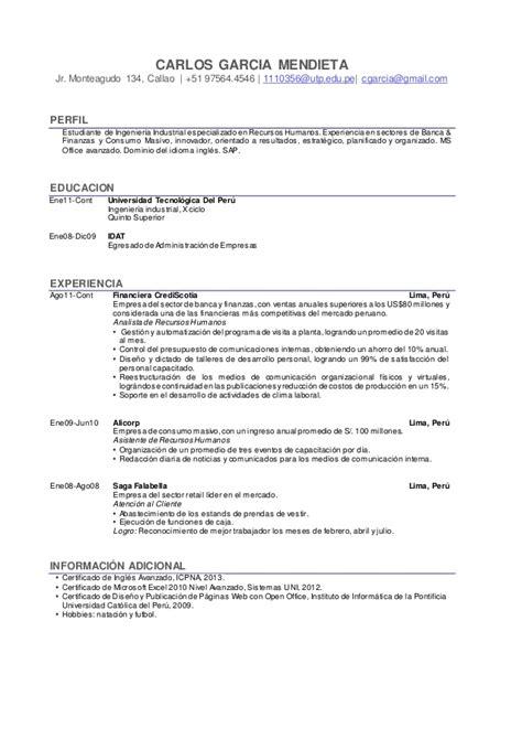 formato curriculum vitae scribd formato de cv modelo utp