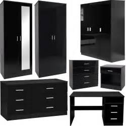 bedroom furniture 3 set black gloss wardrobe drawer