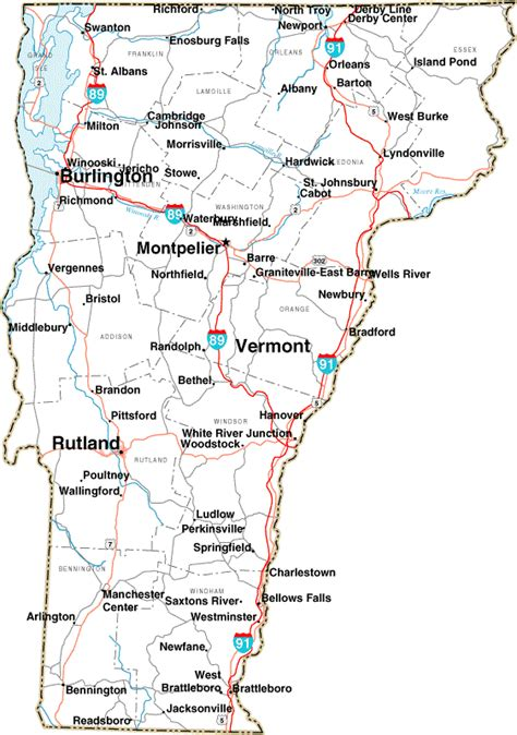map of the united states showing vermont map of vermont state map of usa