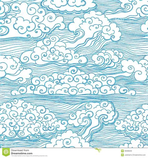 japanese pattern drawing seamless pattern with clouds vector eps 10 stock photos