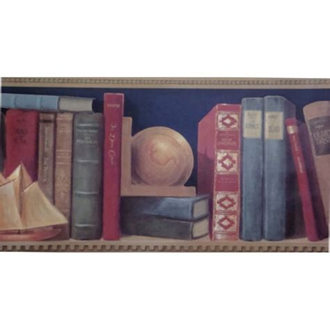 discount wallcovering library bookshelf border cub018