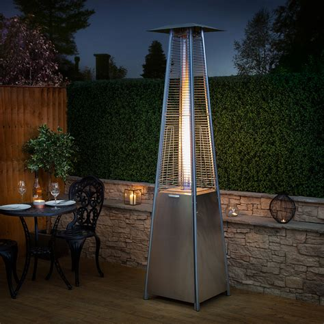 gas flames pyramid patio heater in stainless steel by fire